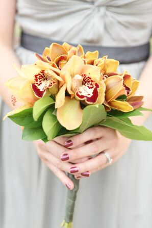 Yellow and Orange Orchid Bridesmaid Bouquet
