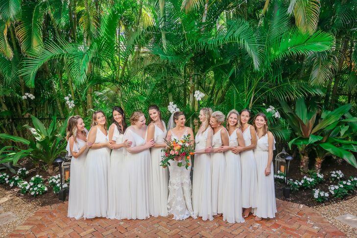 Elegant Bridesmaids with Long White Dresses