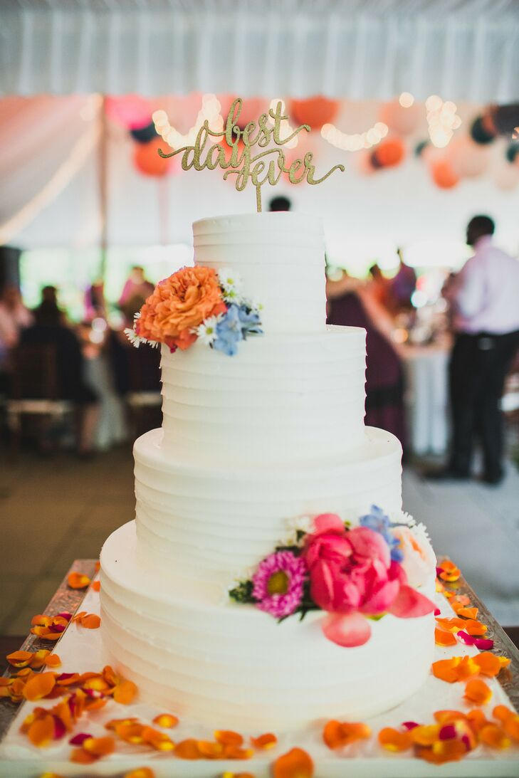 Combed Buttercream Cake with Colorful Blooms and Cake Topper
