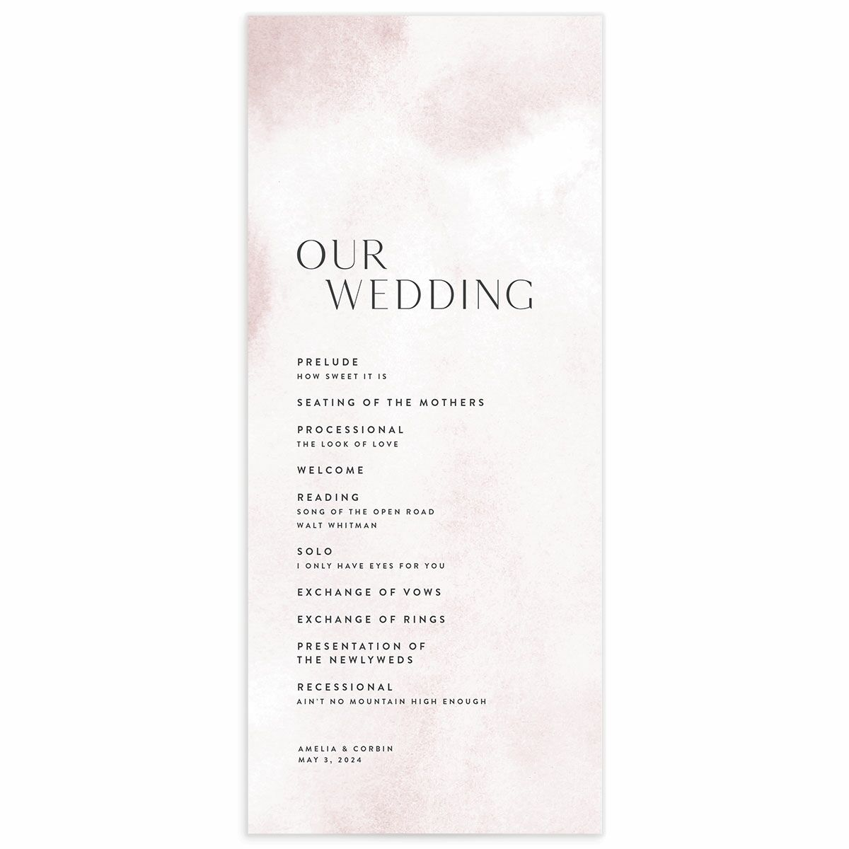 A Wedding Program from the Elegant Ethereal Collection