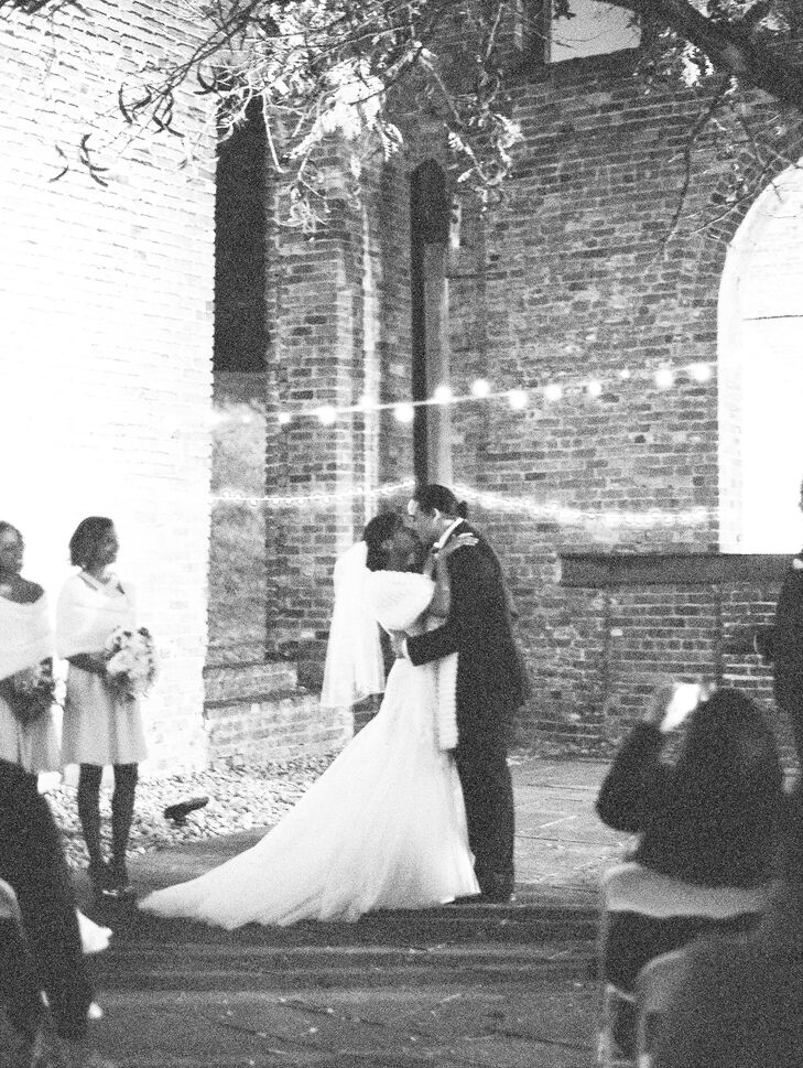 Alexandria and Jon were married at the Civil War Center at Historic Tredegar. The ceremony took place under an old tree next to the ruins and was decorated with string lights.