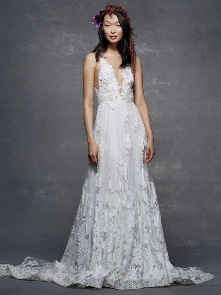 268cba602a2 Marchesa Notte Spring/Summer 2019 floral lace wedding dress with plunging  neckline