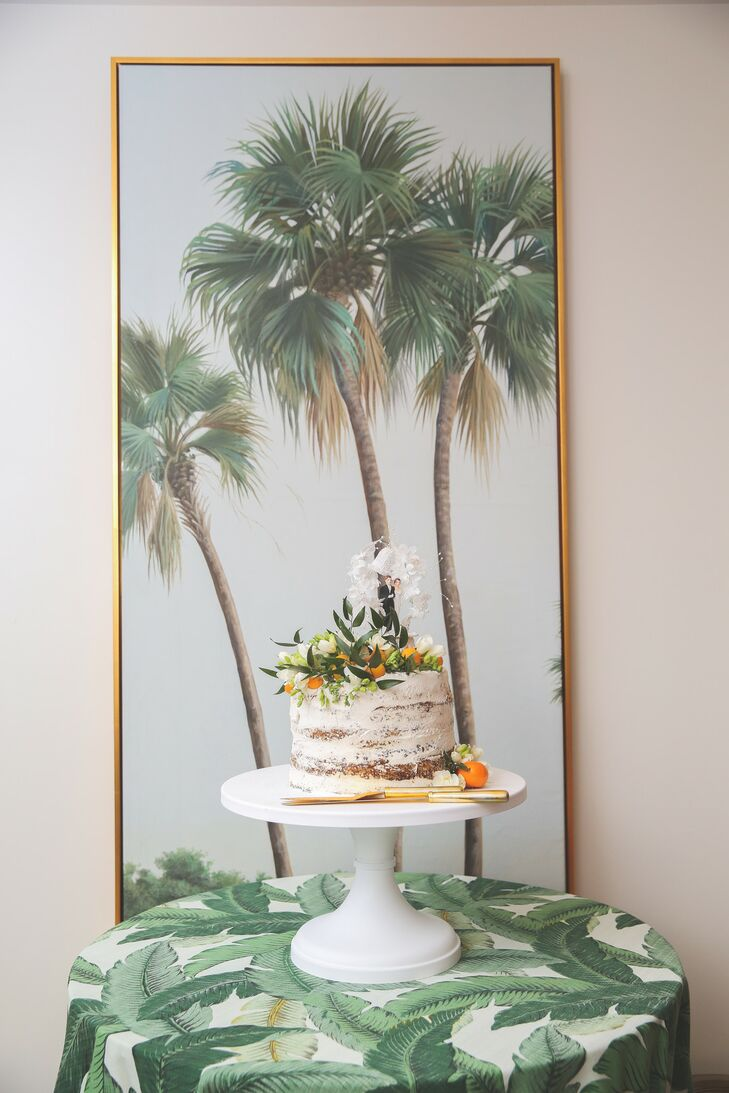 Single-Tiered Semi-Naked Cake with Tropical Decorations