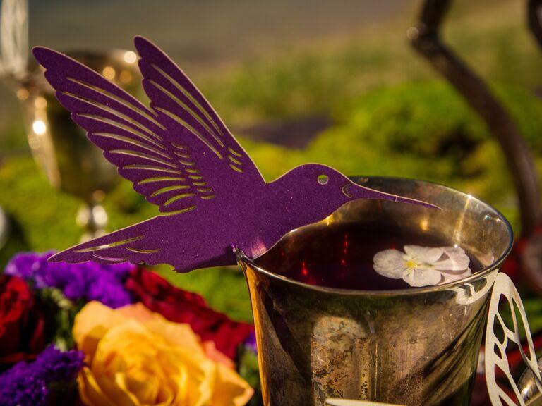Paper hummingbird wine glass marker