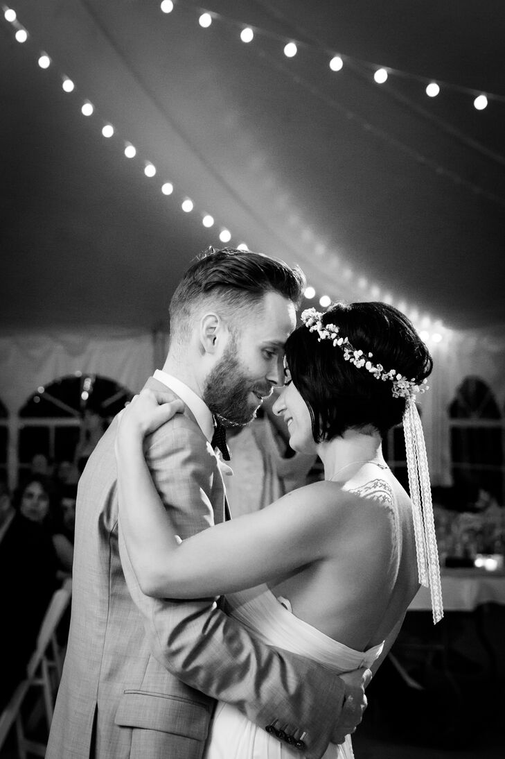 """""""I wanted something simple and comfortable,"""" the bride explains of her bold choice to chop off her hair two days before the wedding. """"I decided to go for a short look and wore a simple flower crown designed by Wallflower Designs."""""""