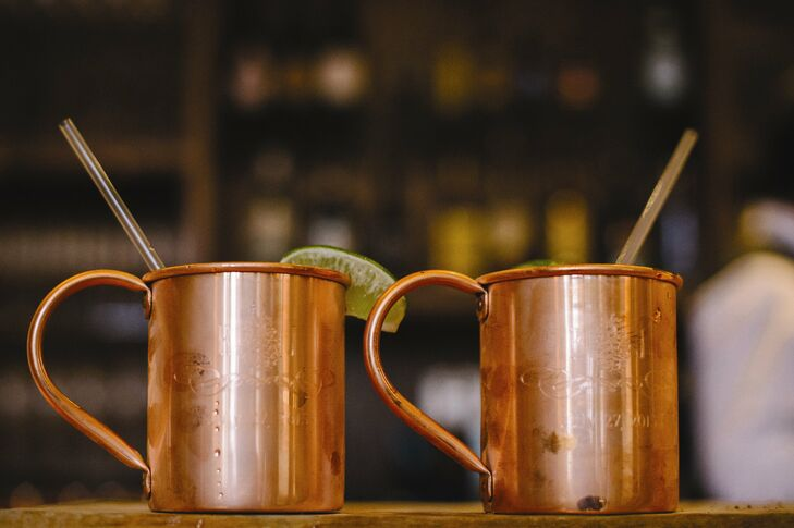 The couple's signature cocktail, the Moscow Mule, was served in bright copper mugs.