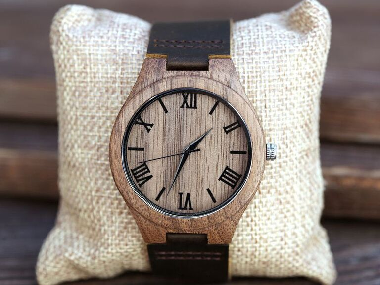 Wooden personalized watch gift for father-in-law