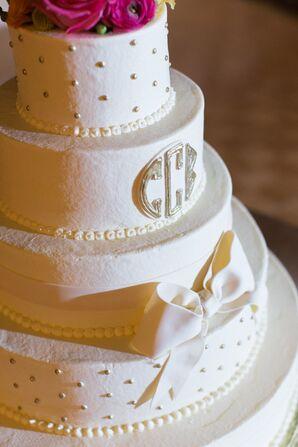 Bow Decorated White Wedding Cake