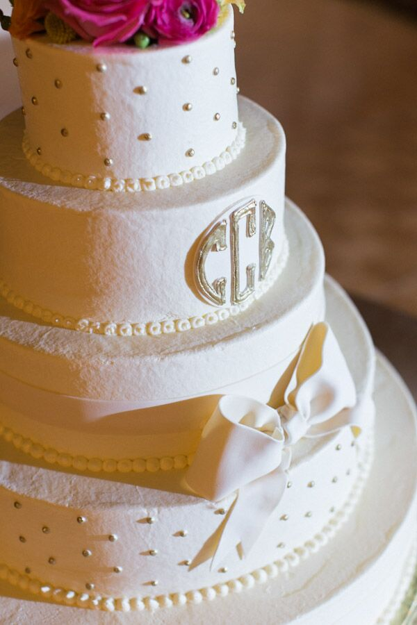 Bow Decorated White Wedding Cake