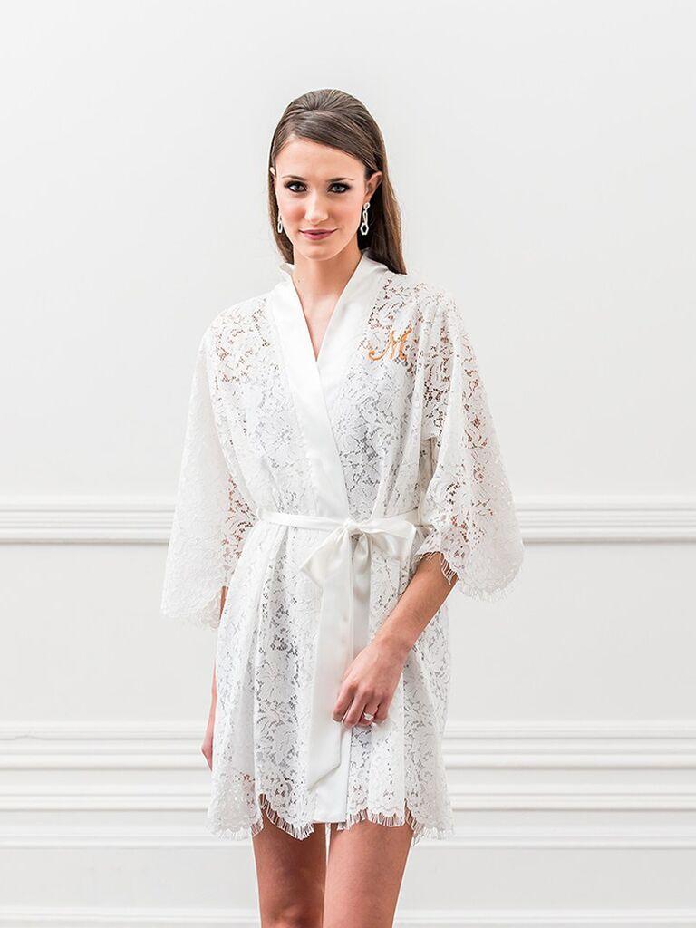 White lace monogram robe bachelorette party gift