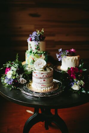 Three Wedding Cakes With Fresh Floral Decorations