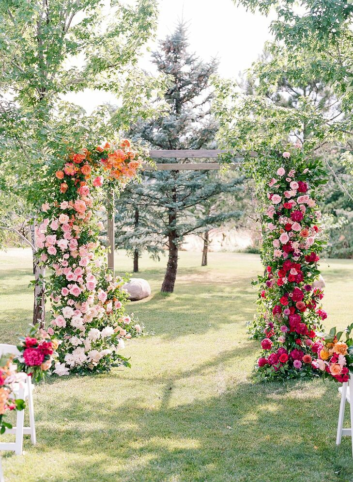 Whimsical Wedding Arch with Colorful Roses and Peonies