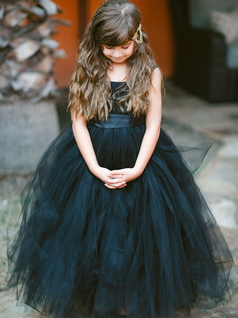 Halloween wedding ideas black flower girl dress