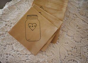 Rustic Mason Jar Monogrammed Napkins