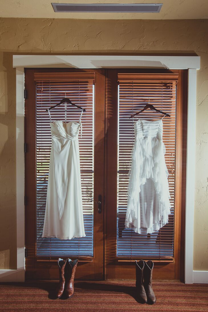 Jackie chose the dress on the left, which was a simple strapless ivory wedding dress. Sarah picked a short ivory dress that she purchased from a department store.