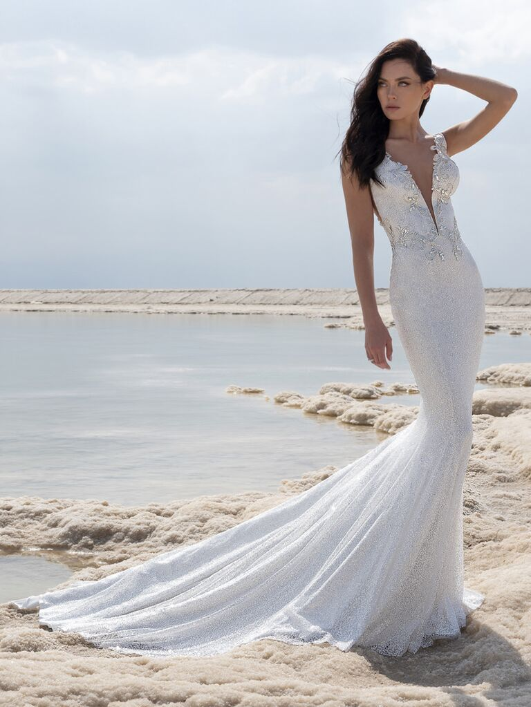 Pnina Tornai Spring 2020 Bridal Collection mermaid wedding dress with plunging neckline and beaded bodice