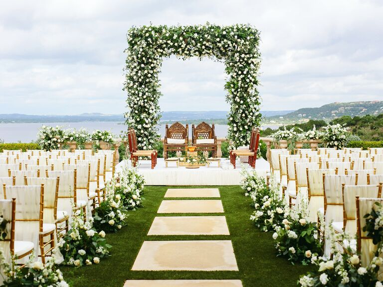 Ceremony altar with fresh flowers
