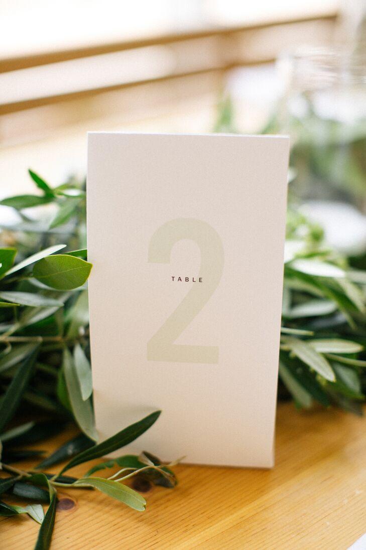 Simple, Modern Table Numbers