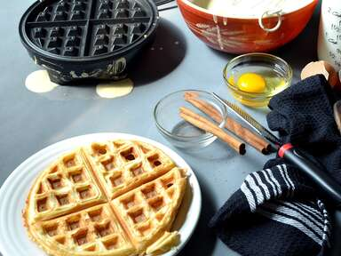 Best waffle maker making waffles on counter