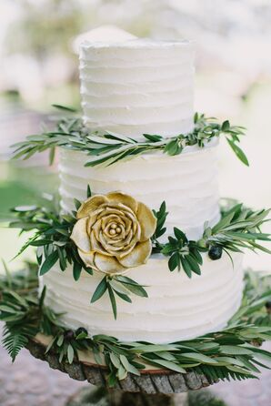 Rustic, Elegant Wedding Cake With Greenery