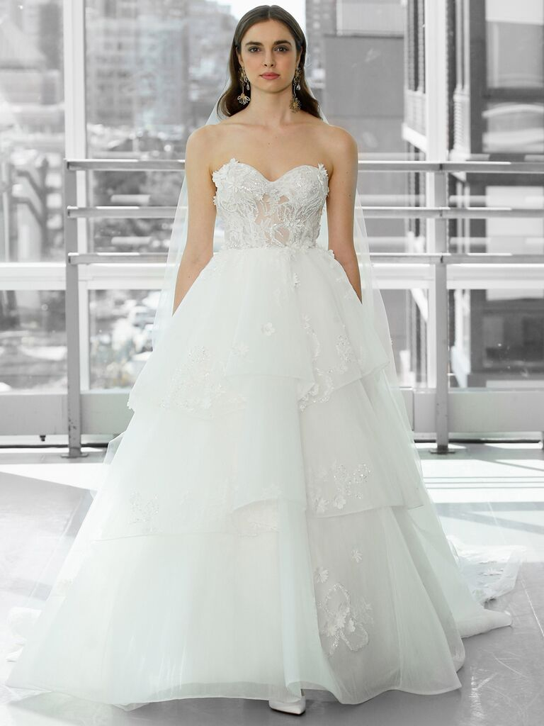 Justin Alexander Signature Wedding Dresses strapless ball gown with tiered skirt