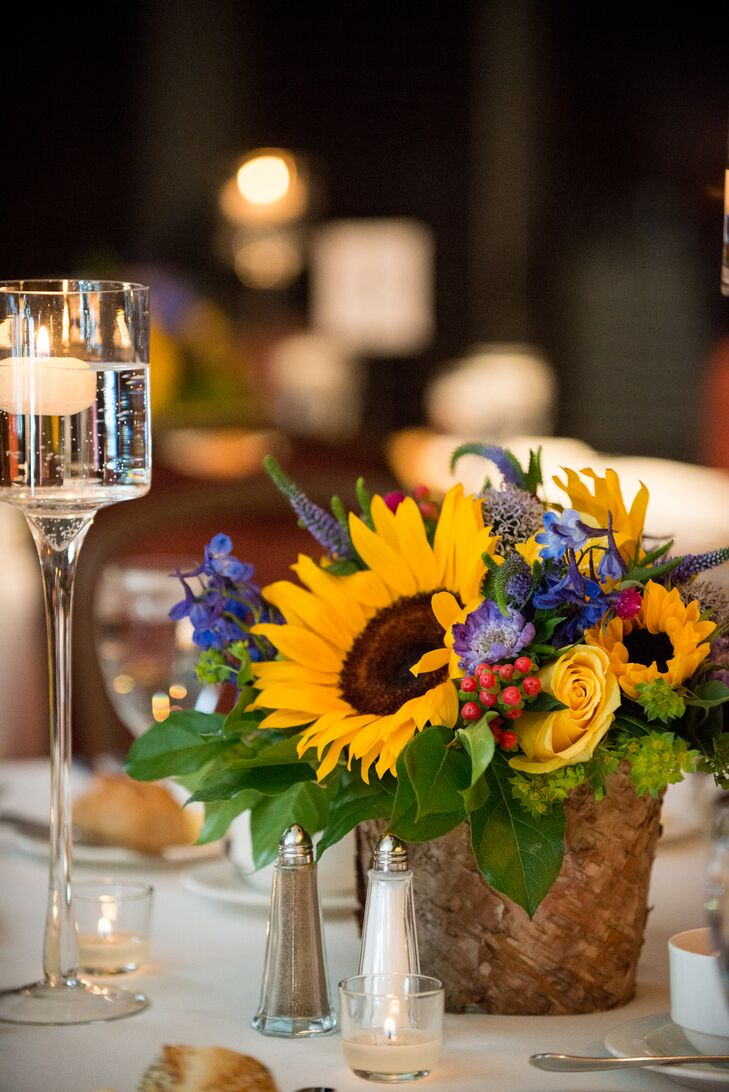 Rustic Wildflower, Sunflower Centerpieces