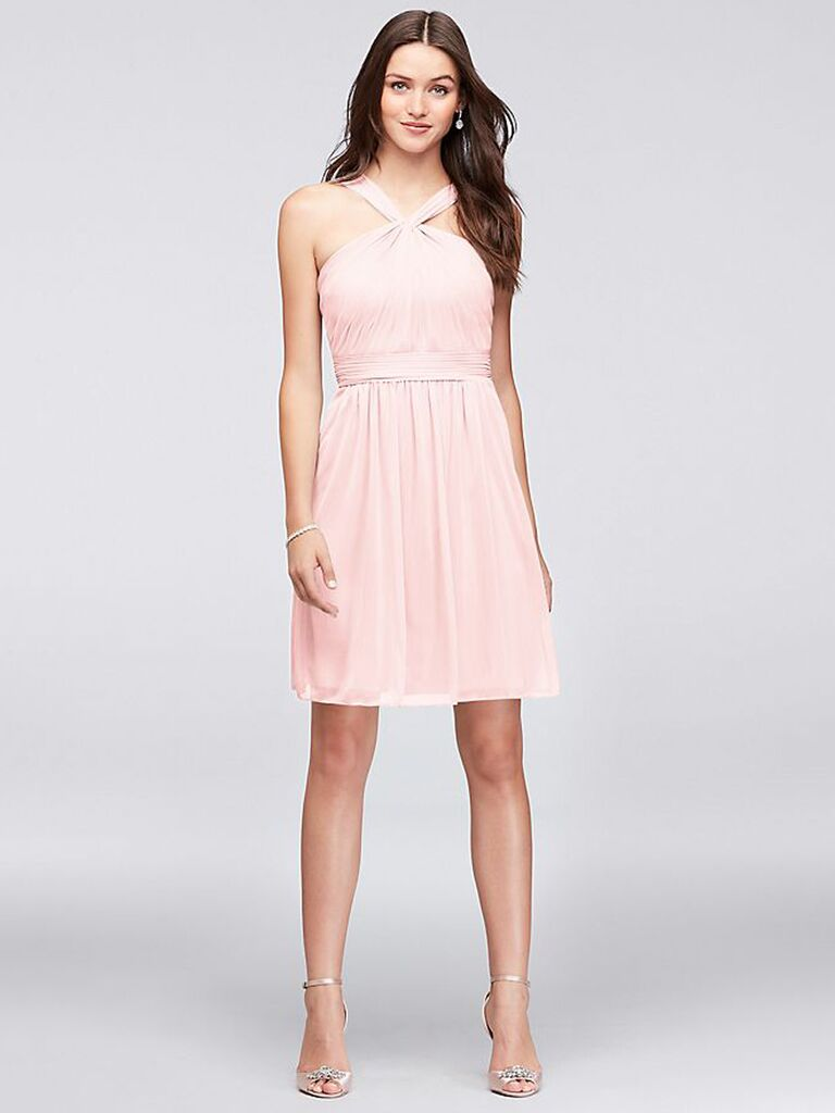 Blush short bridesmaid dress with halter neck
