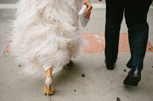 Ivory Feathered Lela Rose Wedding Dress