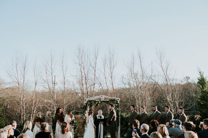 Rustic Ceremony at Barn on Bridge in Collegeville, Pennsylvania
