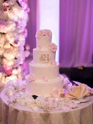 Glam Tiered Cake with Pink Flowers and Crest