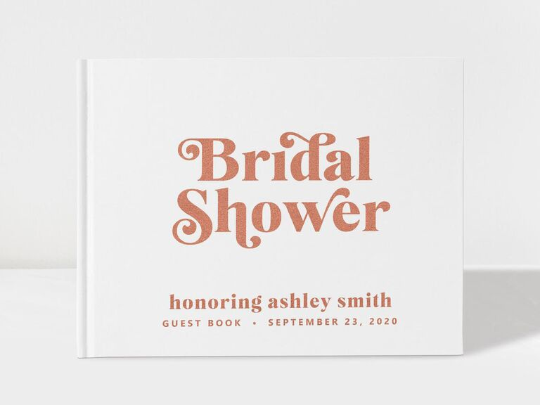 White and rose gold bridal shower guest book