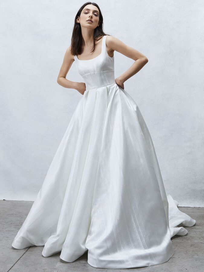 Alyne Collection pleated ball gown with empire waist band