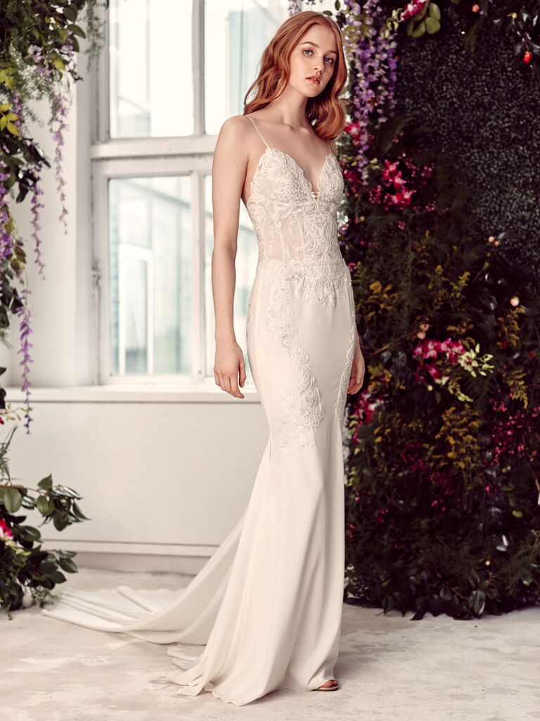 Alyne by Rita Vinieris Spring/Summer 2020 Bridal Collection fitted sheath wedding dress with triangle bodice and spaghetti straps