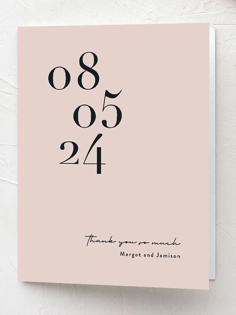 modern wedding date thank-you card
