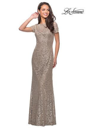 La Femme Evening 25528 Gold Mother Of The Bride Dress