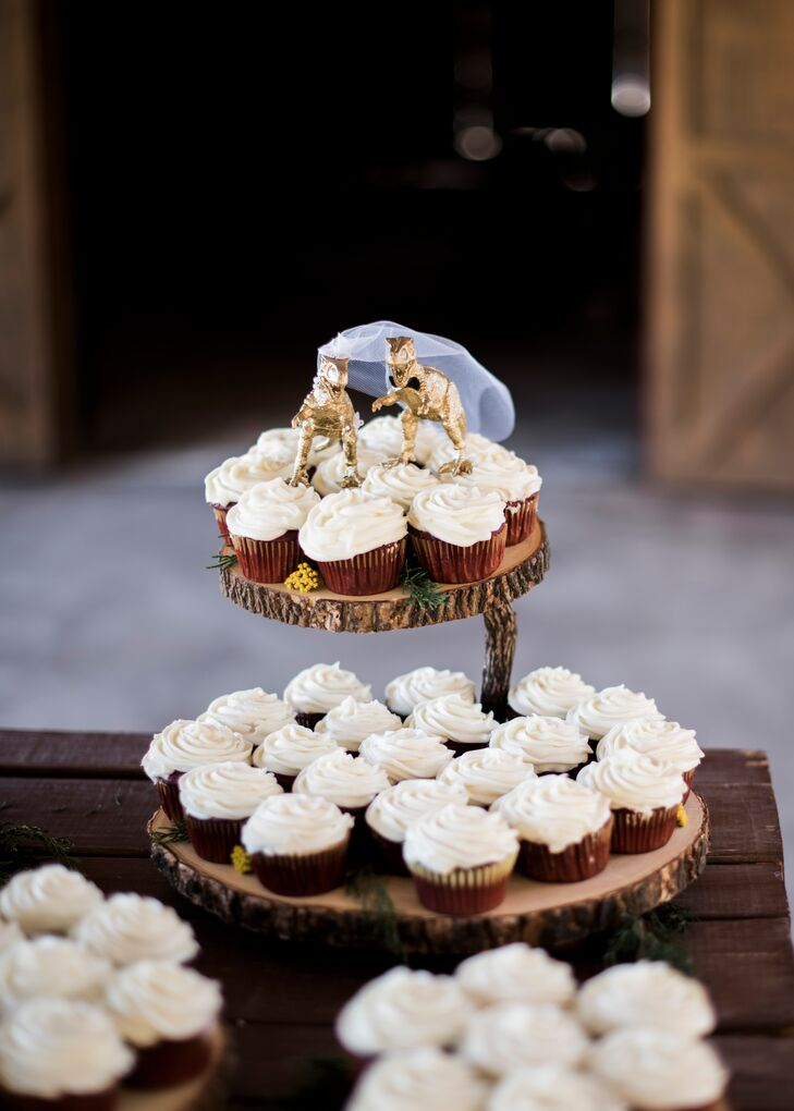 Red velvet cupcakes—Joe's favorite—featured golden dinosaur cake toppers the couple had discovered on Etsy.
