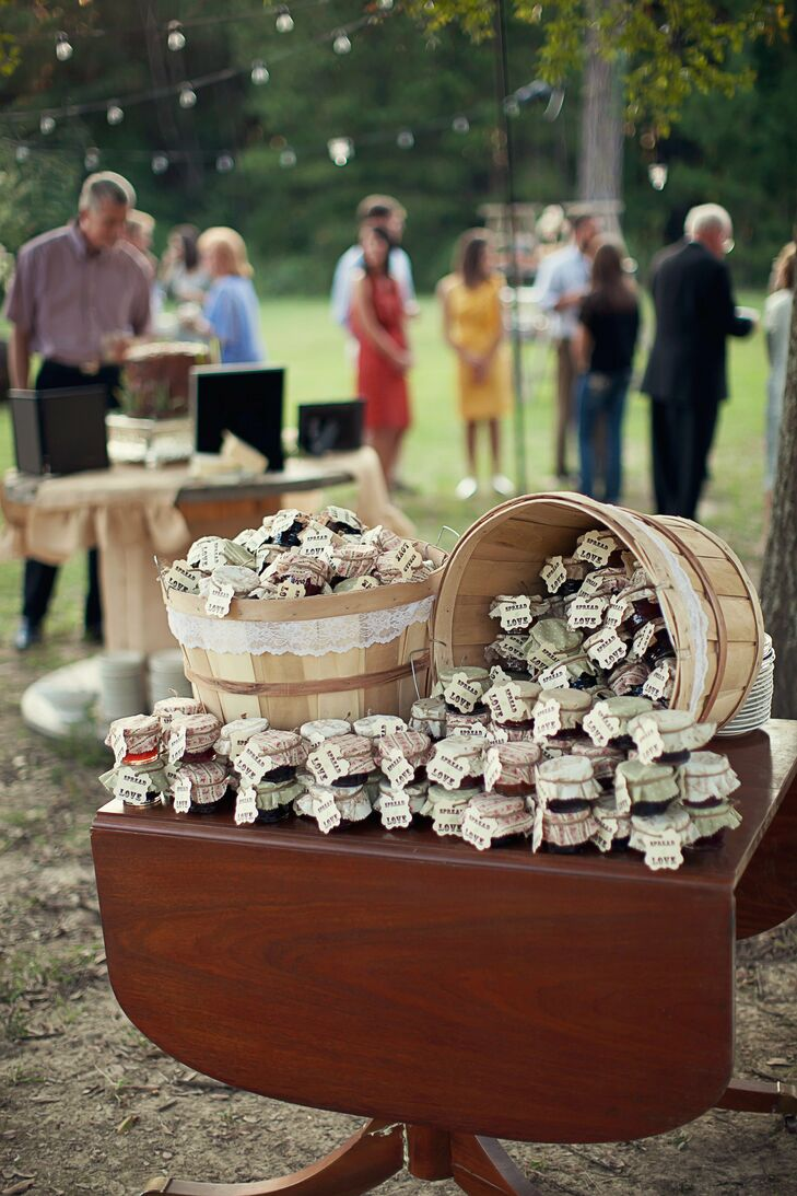 The favors, jars of homemade jams and jellies, were made by the bride's mother.