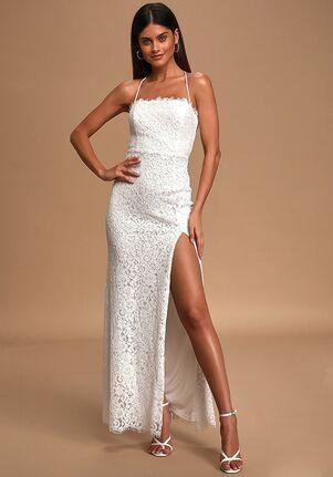 Lulus Infinite Love Story Ivory Lace Lace-Up Maxi Dress Sheath Wedding Dress