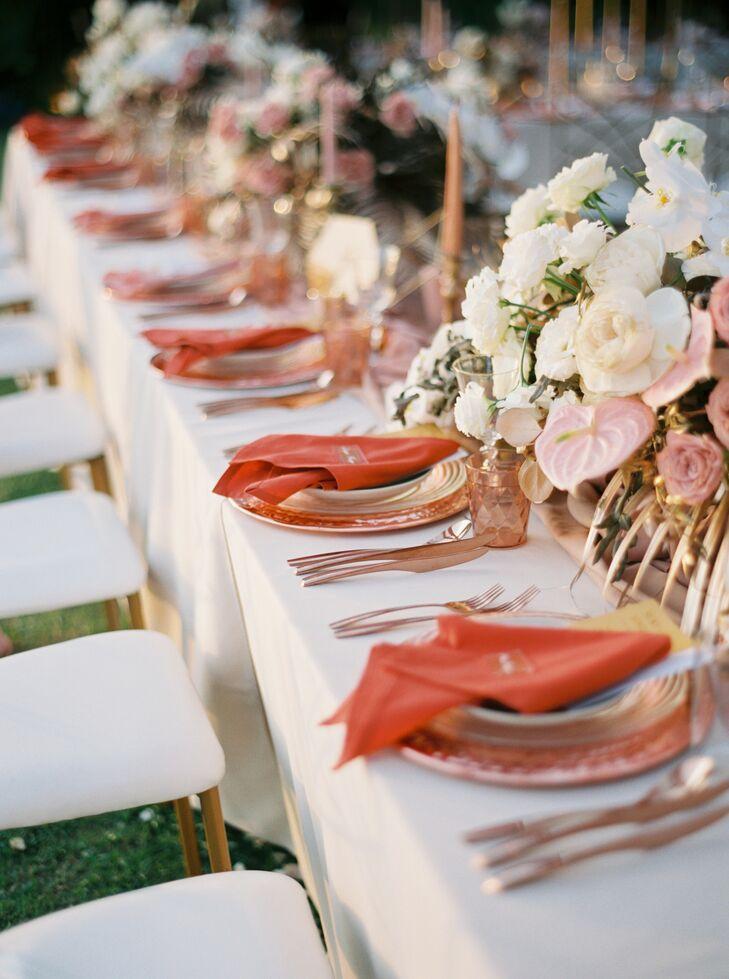 Vibrant Place Settings at Destination Wedding in Phuket, Thailand