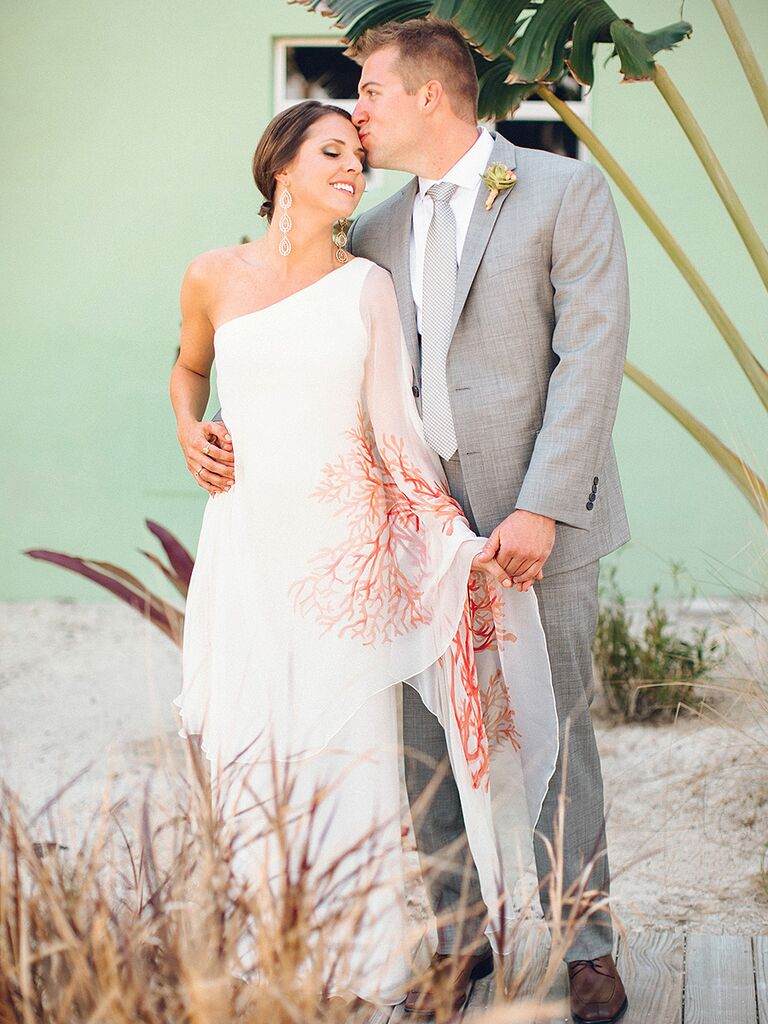 Blac Mera beach wedding dress with a red coral pattern