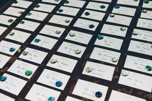 Classic Hand-Lettered Escort Cards with Jewel-Tone Stones