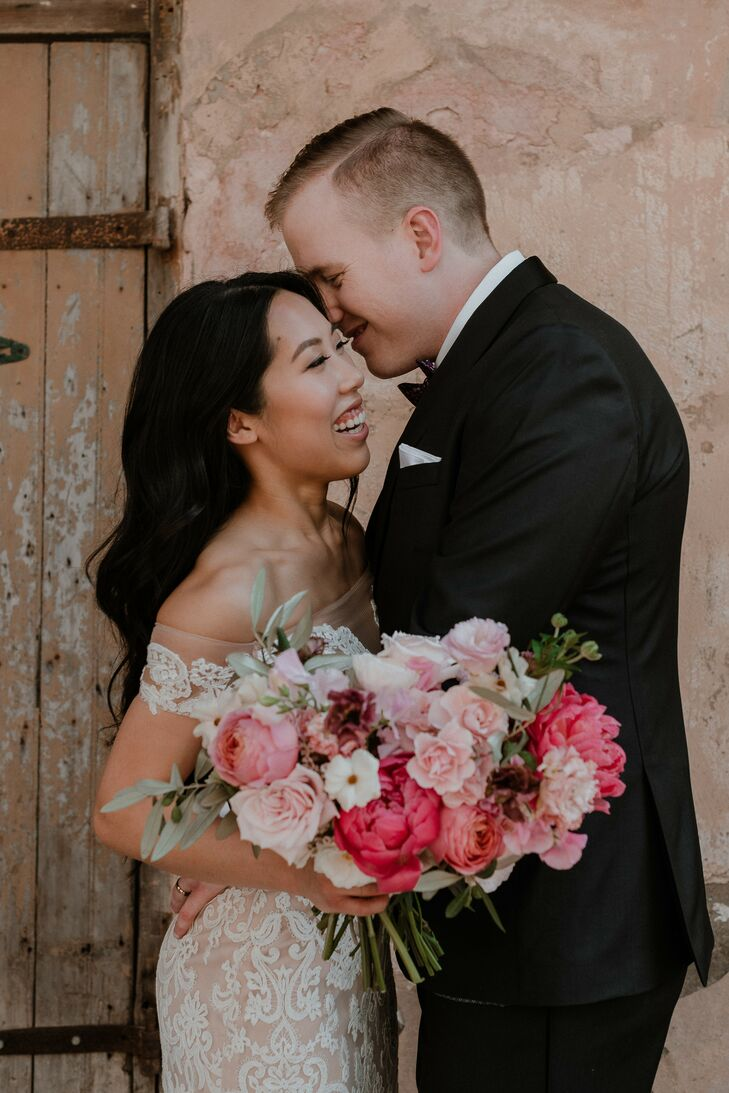 Modern, Romantic Couple and Pink Bouquet with Peonies and Roses