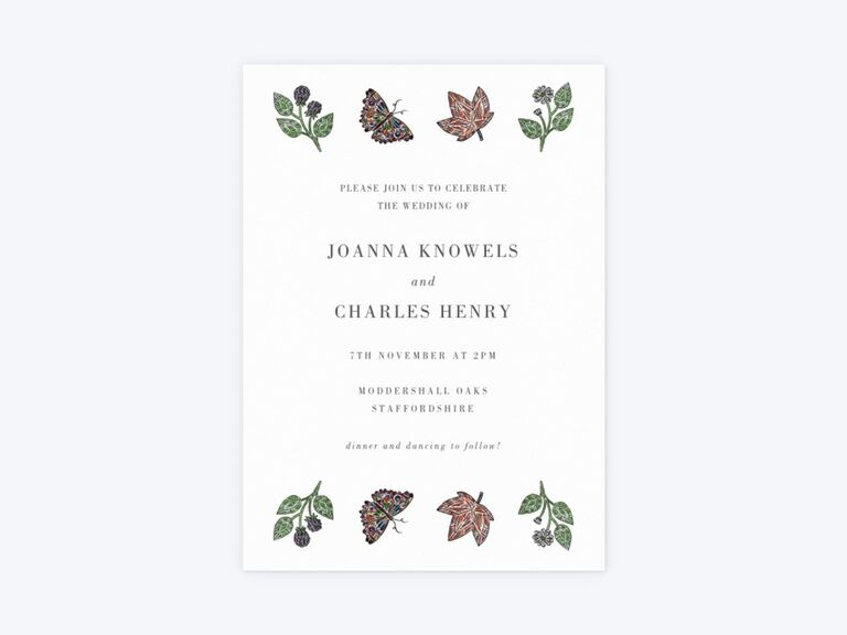 Butterfly autumn wedding invitation
