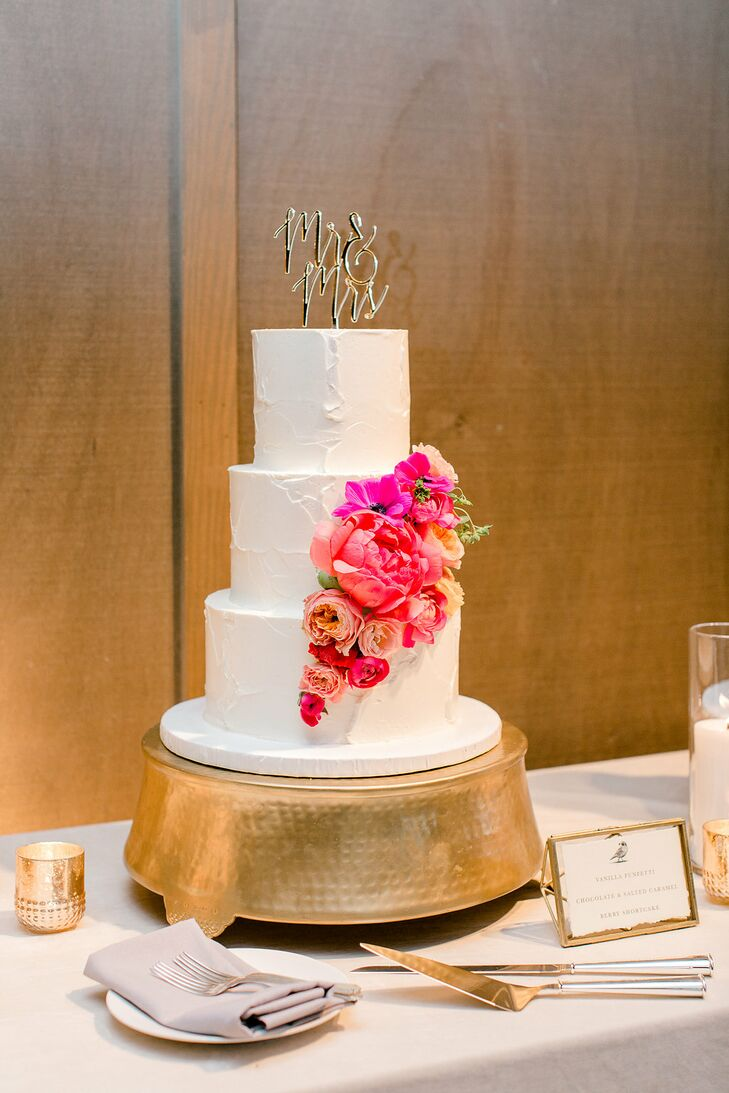 Tiered Cake with Pink Flowers and Gold Cake Stand