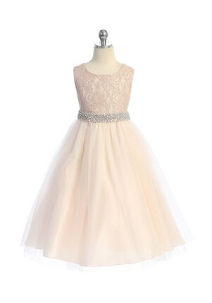 Kid's Dream Long Lace Illusion Dress w/ Thick Rhinestone Trim Flower Girl Dress