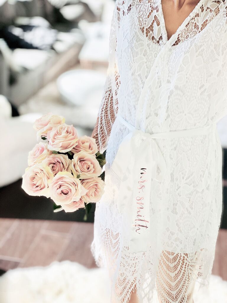 White lace bridal robe with personalized silk sash