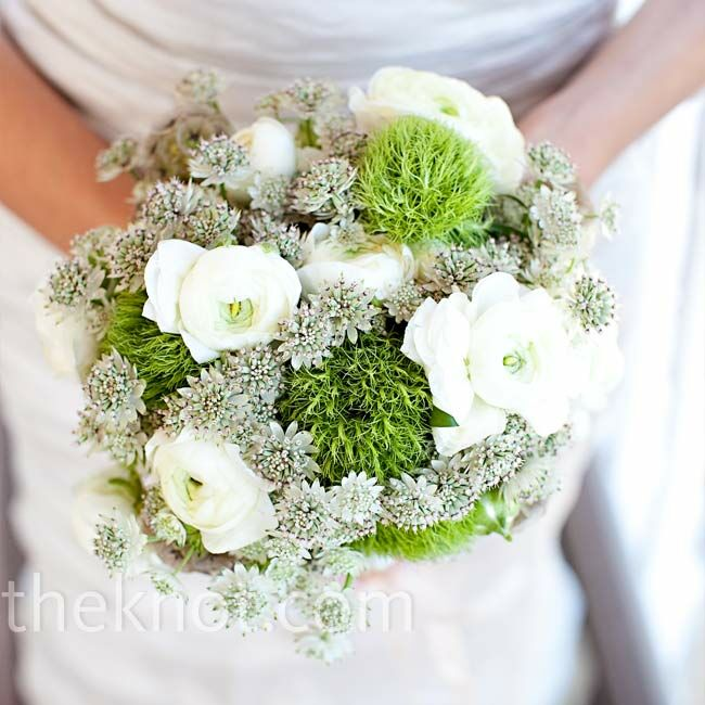 Gabrielle put her own bouquet together using flowers from the Manhattan's flower district: ranunculus, scabiosa, and Queen Anne's Lace.