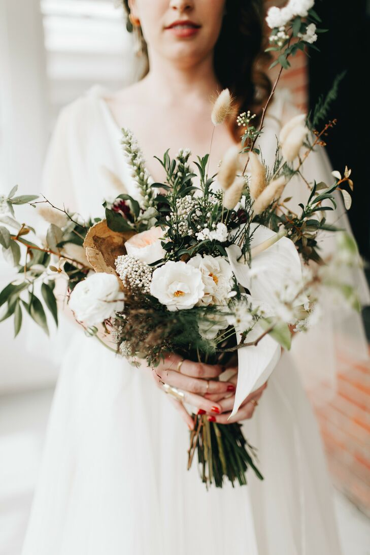 Natural Muted Bouquet of Ranunculus, Chocolate Lace, Rice Flowers and Mushrooms