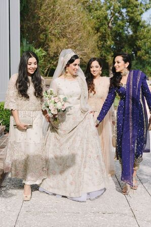 Elegant Muslim Bride and Glamorous Bridesmaids in Mismatched Dresses