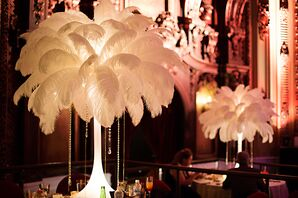Luxe Feather and Crystal Reception Centerpieces